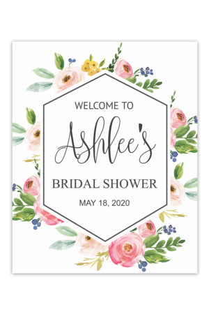 Floral Hexagon Bridal Shower Welcome Sign