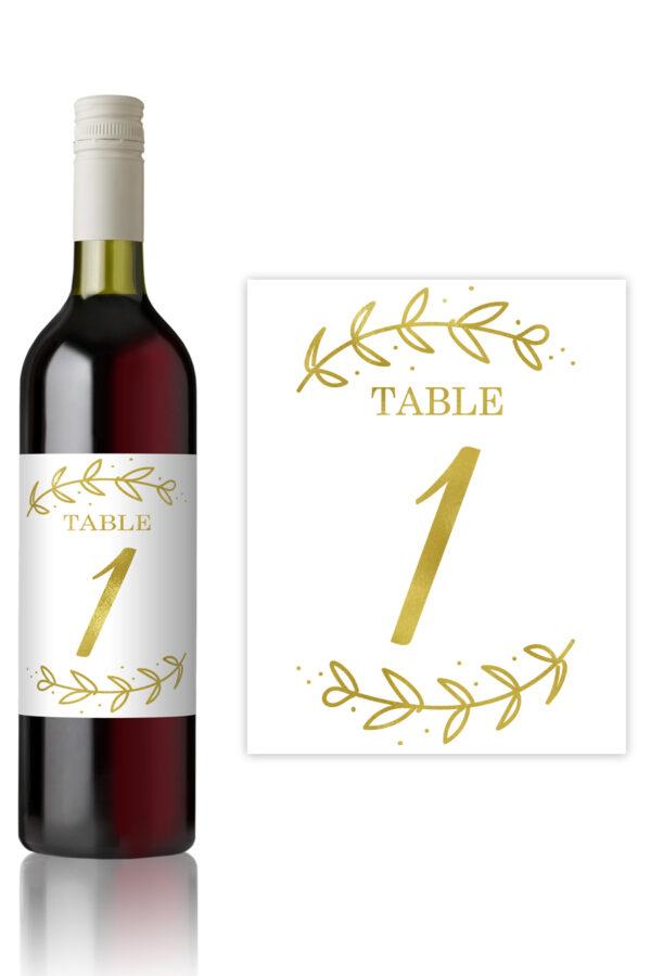 Flourish Table Number Bottle Labels