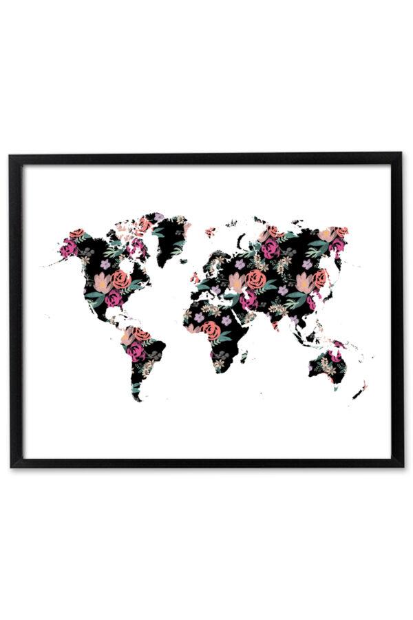 Floral World Map Wall Art