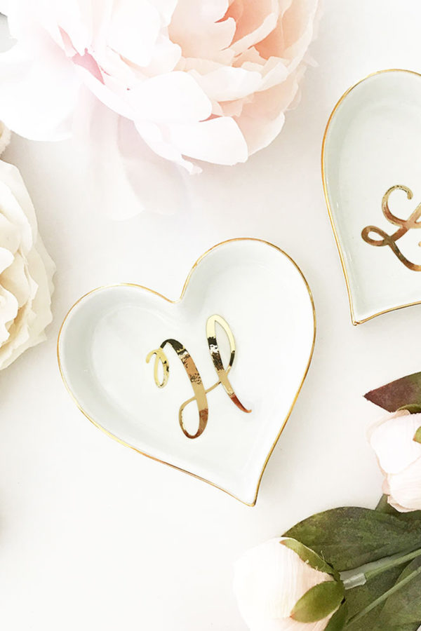 Personalized Heart Initial Ring Dish