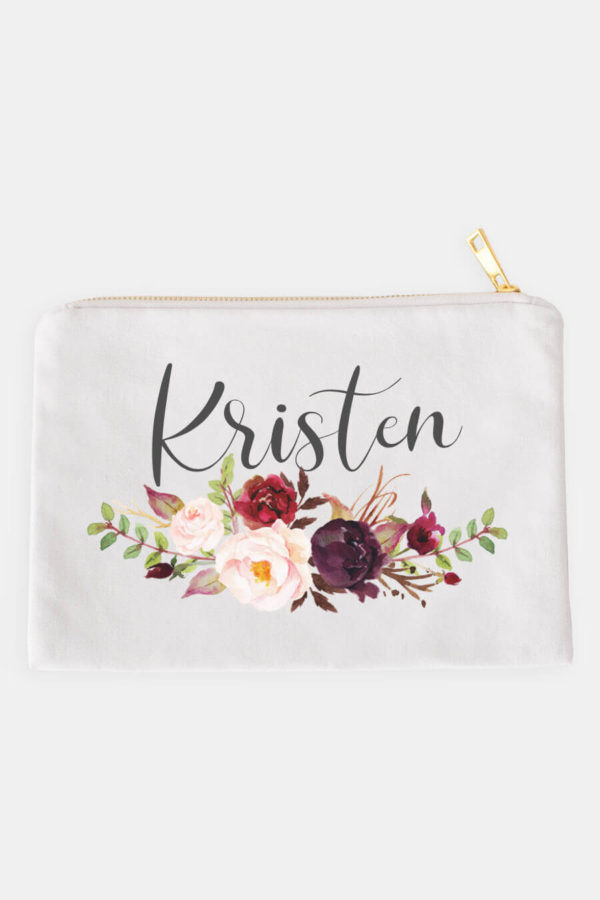 Marsala Floral Personalized Cosmetic Bag