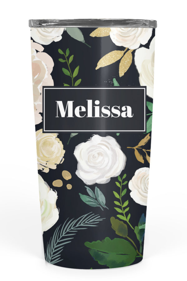 Midnight Floral Personalized Tumbler