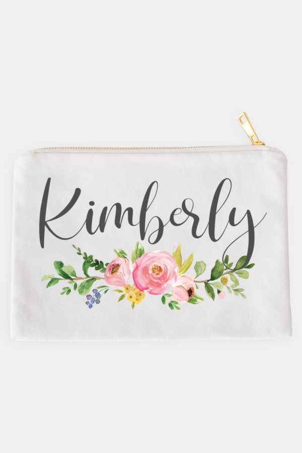 Pink Floral Personalized Cosmetic Bag