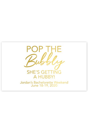 Pop the Bubbly She's Getting A Hubby Mini Champagne Labels