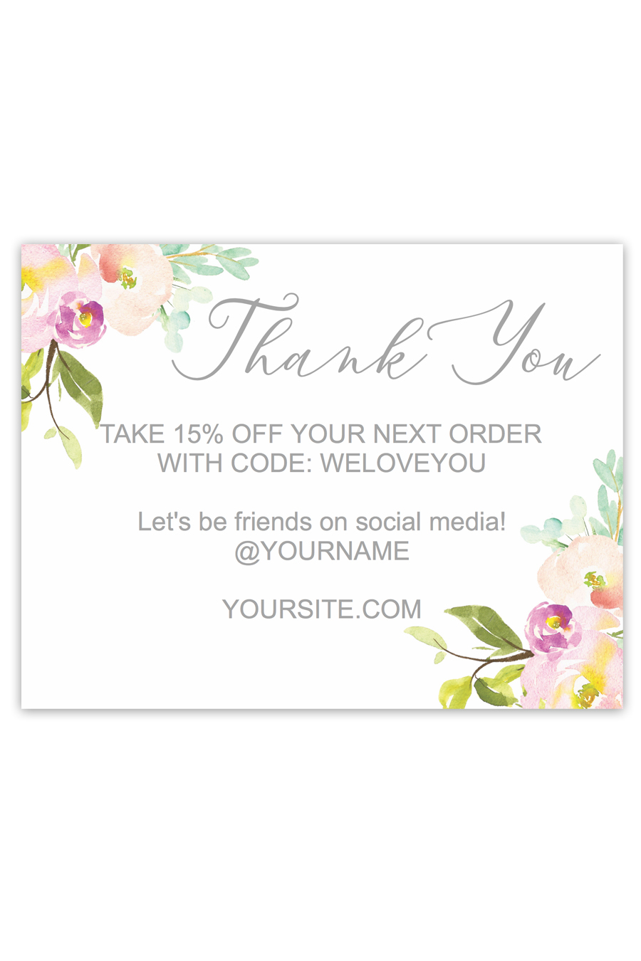Romantic Floral Business Thank You Cards