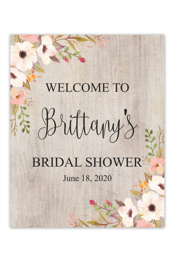 Rustic Floral Bridal Shower Welcome Sign