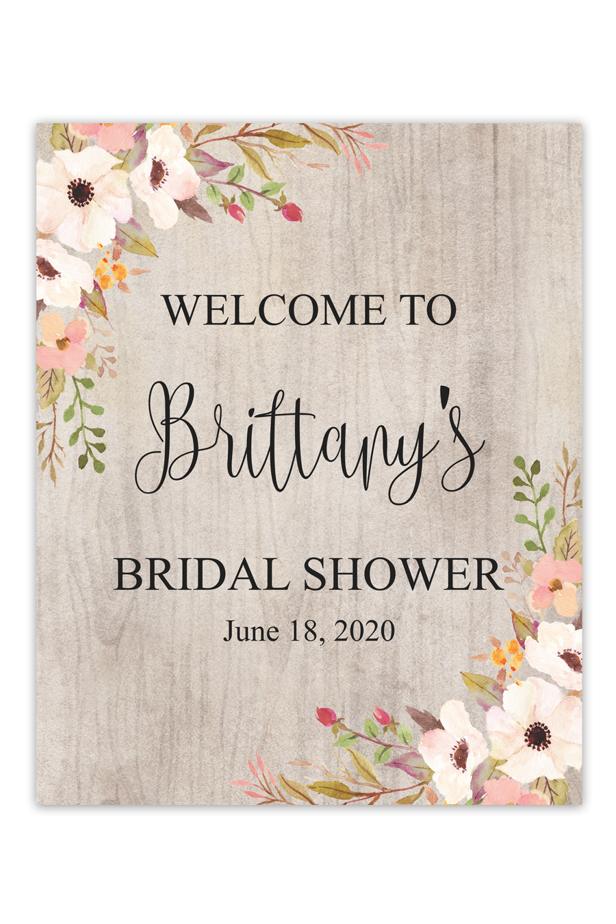 Rustic Fl Bridal Shower Welcome