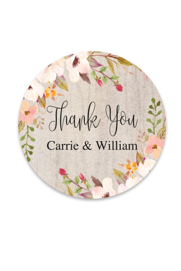 Rustic Floral Favor Stickers