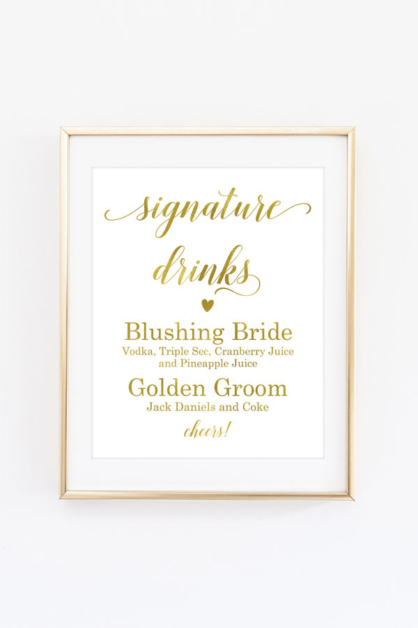 Signature Drinks Sign