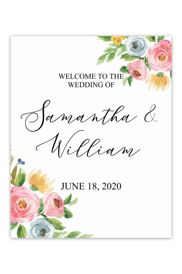 Southern Floral Wedding Welcome Sign