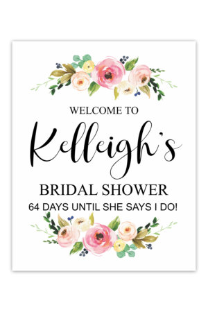 Watercolor Floral Bridal Shower Welcome Sign