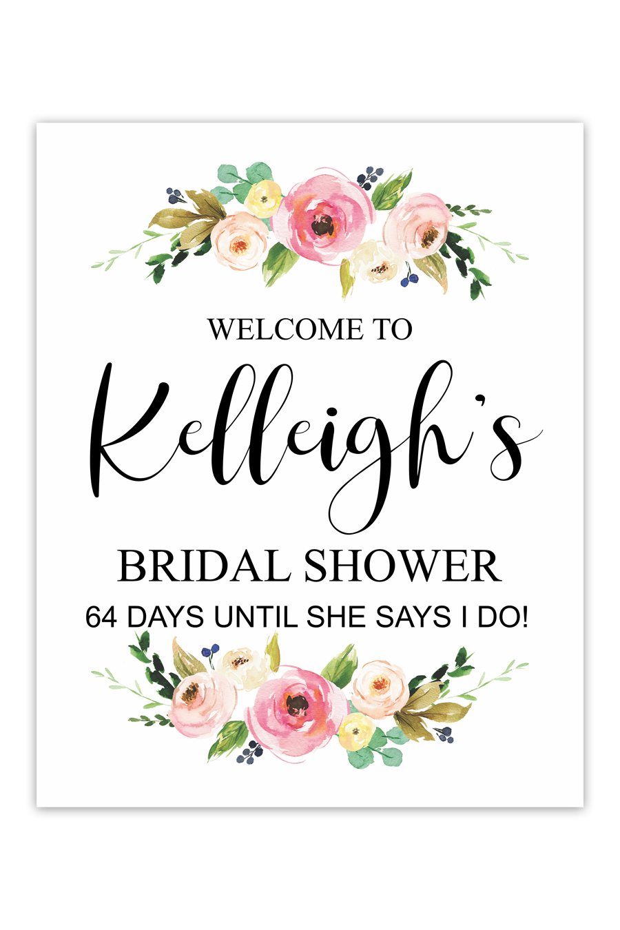 Watercolor Fl Bridal Shower Welcome