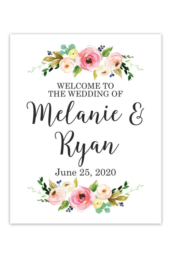 Watercolor Floral Wedding Welcome Sign