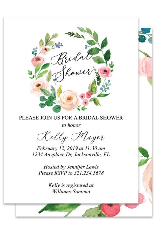 Watercolor Floral Wreath Bridal Shower Invitations