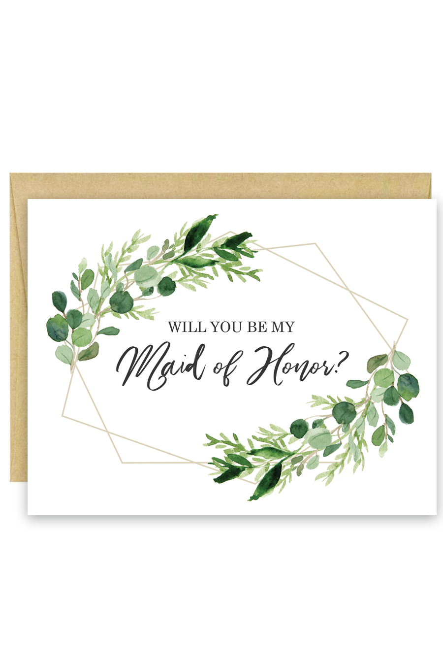 Greenery Will You Be My Bridesmaid Card Chicfetti
