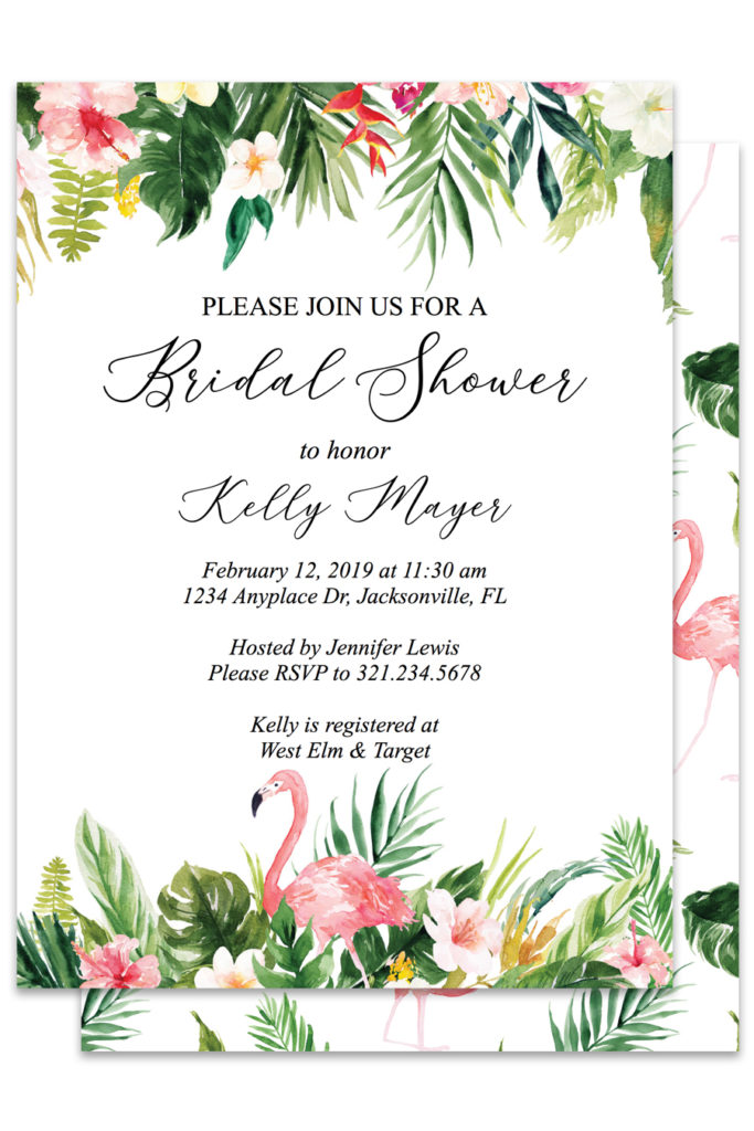 picture regarding Printable Bridal Shower Invites named Tropical Flamingo Printable Bridal Shower Invites