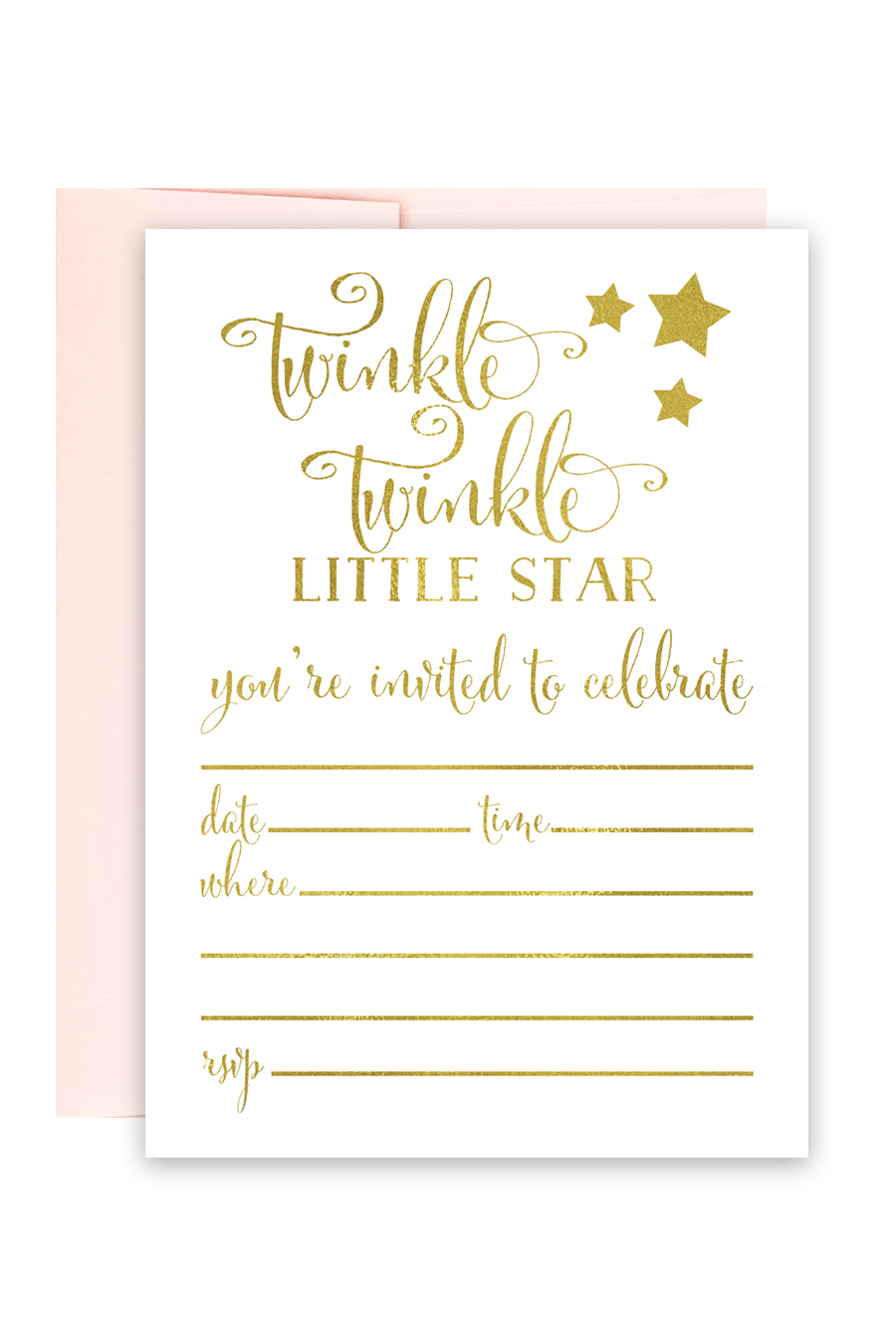 image regarding Free Printable Twinkle Twinkle Little Star Baby Shower Invitations titled Twinkle Twinkle Small Star Foil Invites