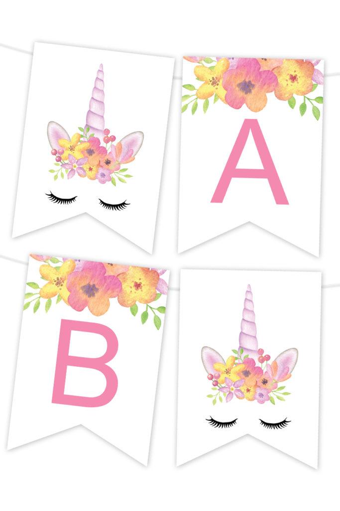 Watercolor Floral Unicorn Printable Banner Chicfetti