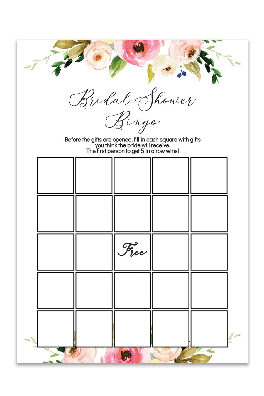 Watercolor Floral Printable Bridal Shower Bingo Chicfetti
