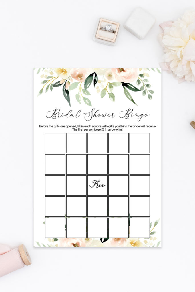 photograph regarding Printable Bridal Shower Bingo named Printable Bridal Shower Bingo (Blush Ivory Floral) - Chicfetti