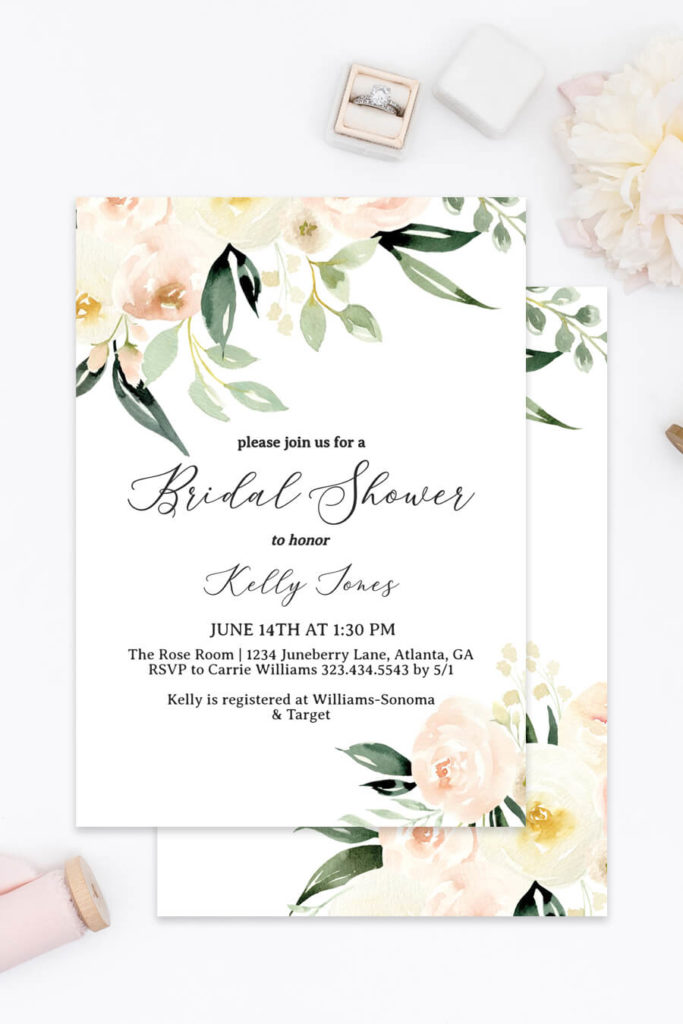 photograph regarding Bridal Shower Invitations Printable named Blush Ivory Floral Printable Bridal Shower Invites
