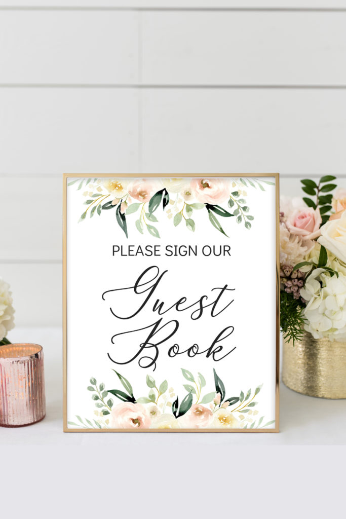 photograph about Printable Guest Book called Blush Ivory Floral Printable Visitor Ebook Indication - Chicfetti