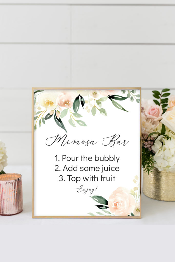 photo about Mimosa Bar Sign Printable known as Blush Ivory Floral Printable Mimosa Bar Indicator - Chicfetti
