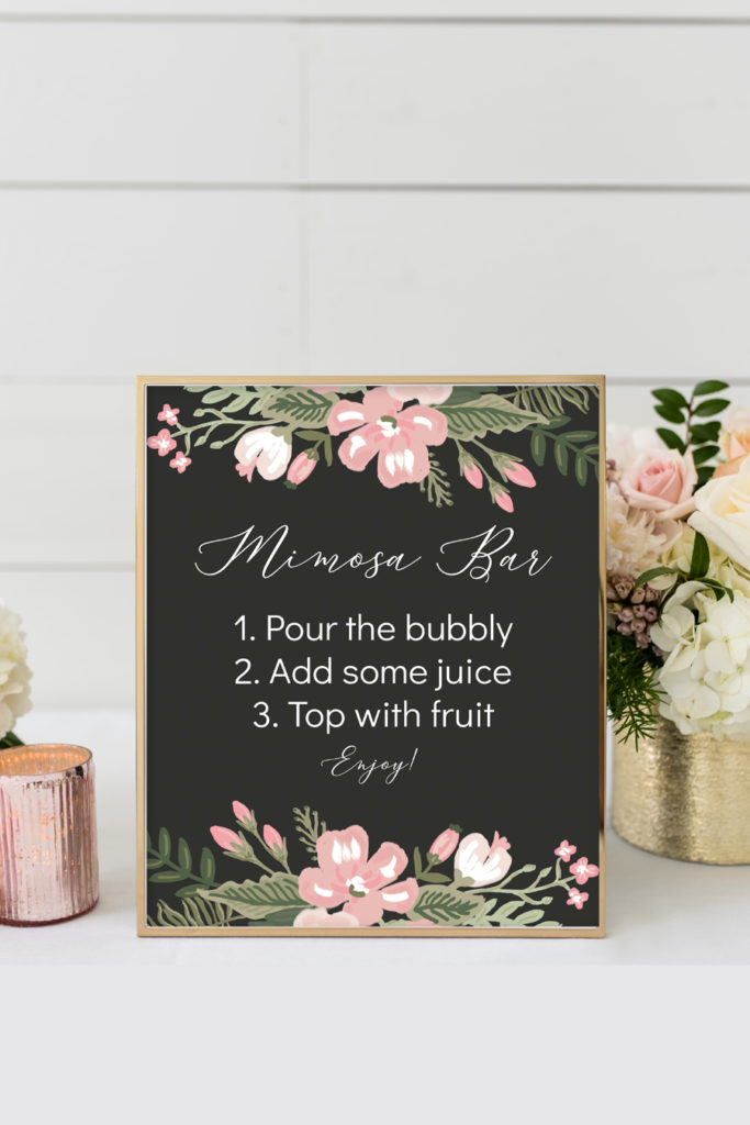 photograph about Mimosa Bar Sign Printable called Incredibly Botanical Printable Mimosa Bar Indication - Chicfetti