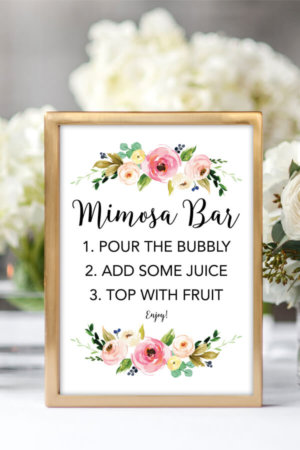 graphic about Free Printable Mimosa Bar Sign named Wedding day Printables Archives - Chicfetti