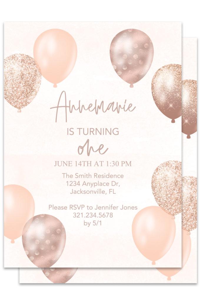 Rose Gold Balloons Printable Invitations Chicfetti